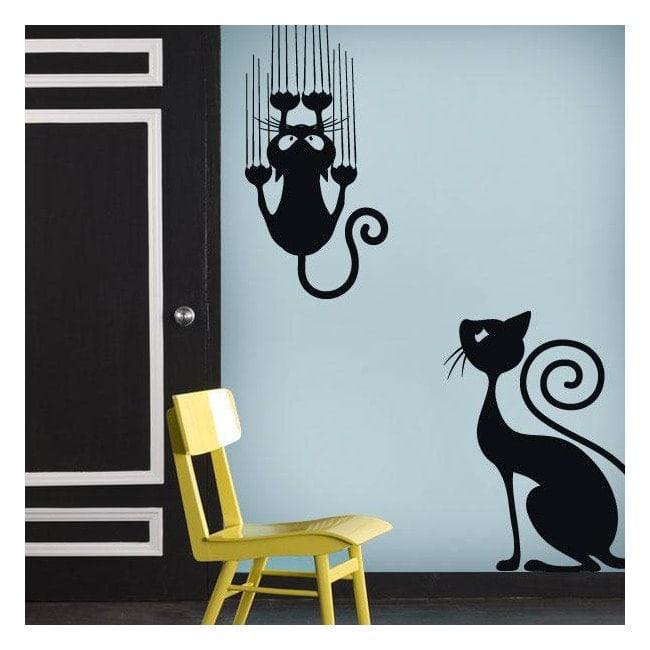 Vinilos decorativos adhesivos y pegatinas gatos for Adhesivos de pared infantiles