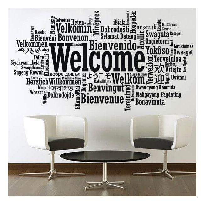Vinilos decorativos pegatinas bienvenido idiomas - Vinilo welcome ...