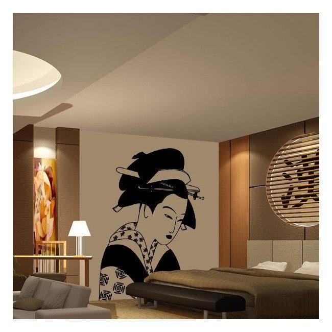 Vinilo Decorativo Mujer Japonesa