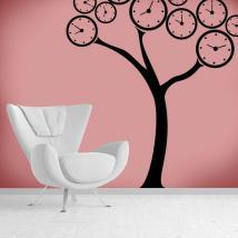 Vinilo Decorativo Árbol Relojes