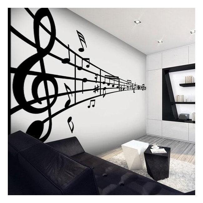 Pegatinas paredes pentagrama musical for Vinilos decorativos infantiles musicales