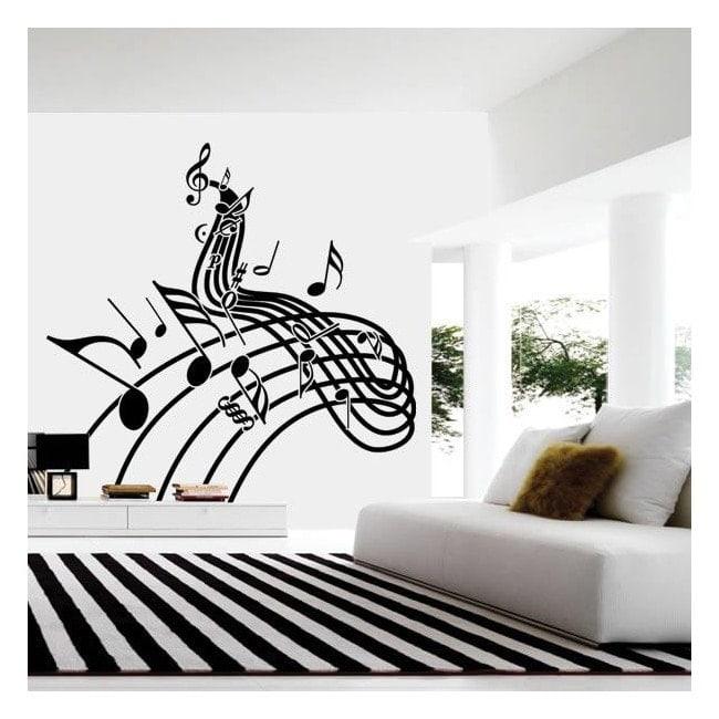 Vinilo decorativo pentagrama musical for Vinilo decorativo musical pared