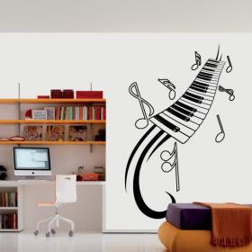 Vinilo Decorativo Piano y Notas Musicales
