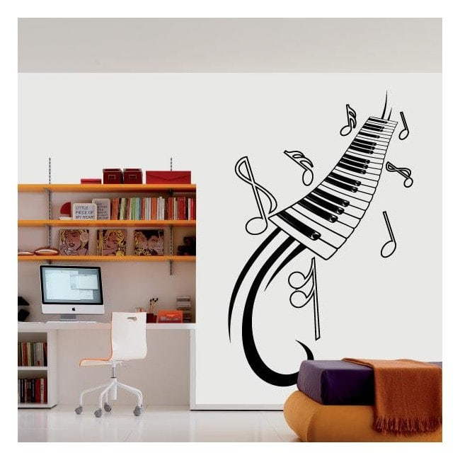 Vinilo decorativo piano y notas musicales for Vinilos decorativos pared musicales