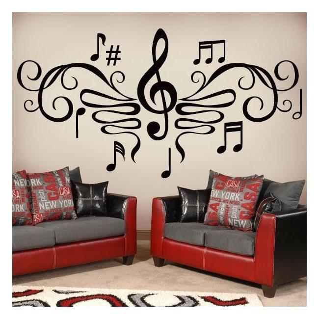 Vinilos decorativos filigrana musical for Calcomanias para dormitorios