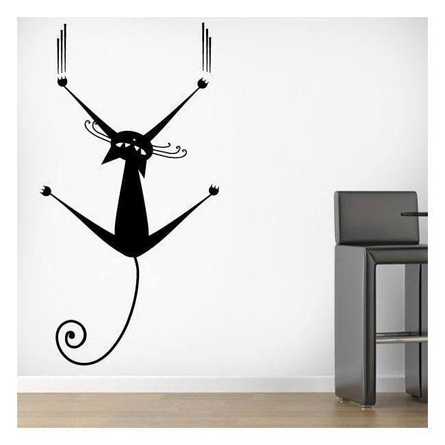 Vinilos decorativos gato en la pared - Vinilo en pared ...