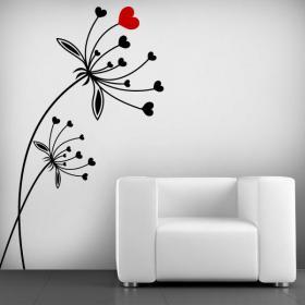 Vinilos Decorativos Flores de Corazón