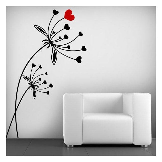 Vinilos decorativos flores de coraz n - Paredes pintadas con dibujos ...