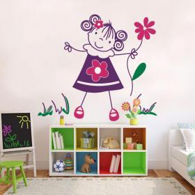 Vinilos Decorativos Infantiles Niña con Flores