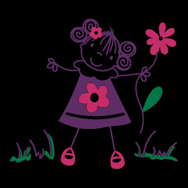Vinilos Decorativos Infantiles Nina Con Flores