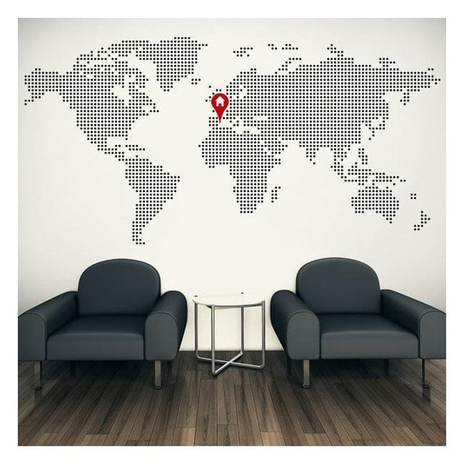 vinilos decorativos mapamundi casa