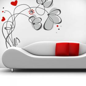 Vinilos Decorativos Flores Love