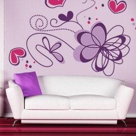 Pegatinas Paredes Flores Románticas