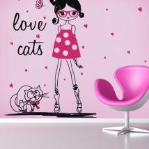 Vinilos Silueta Mujer Love Cats