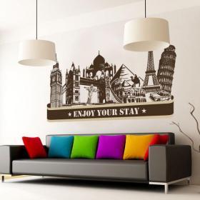 Vinilos ciudades enjoy your stay vinilos decorativos for Vinilos pared ciudades