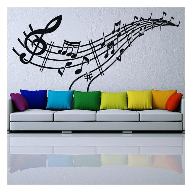 Vinilos musicales pentagrama y notas for Vinilos decorativos pentagrama musical