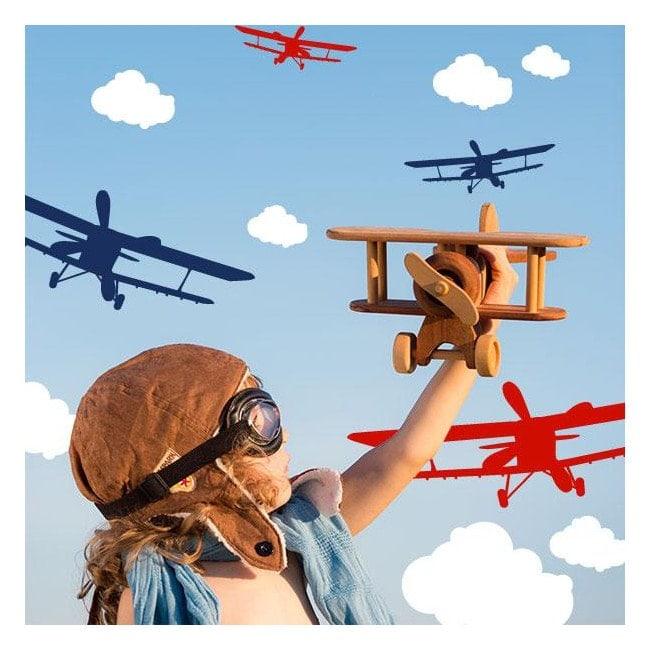 Vinilos Infantiles Aviones y Nubes
