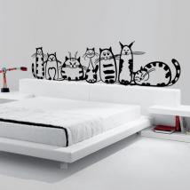 Vinilo Decorativo Familia de Gatos