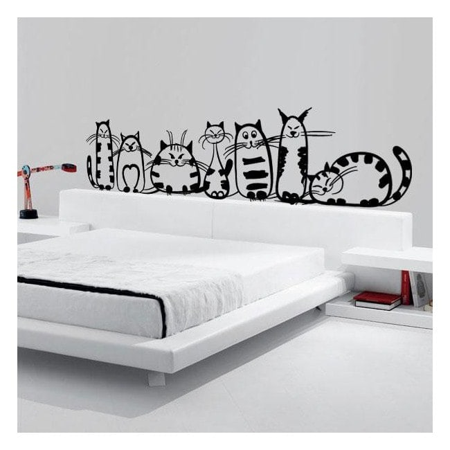 Vinilo decorativo familia de gatos for Frases en vinilo para pared