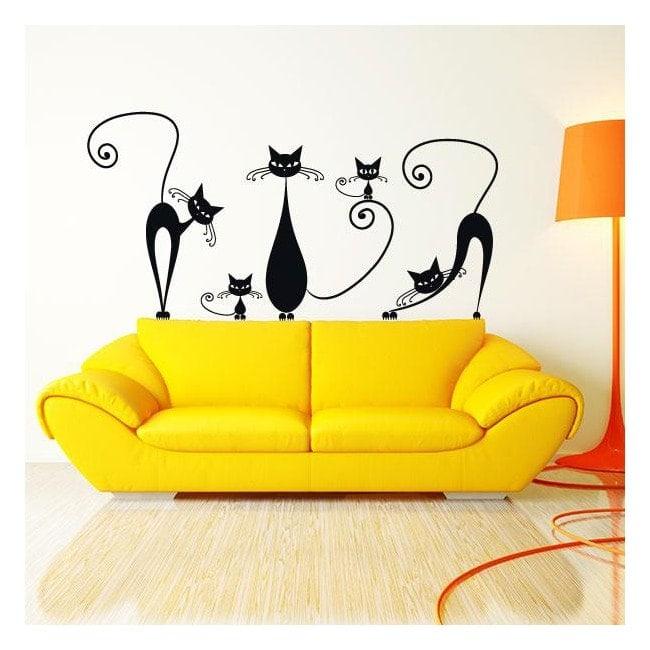 Pegatinas y adhesivos gatos paredes - Adhesivos pared 3d ...