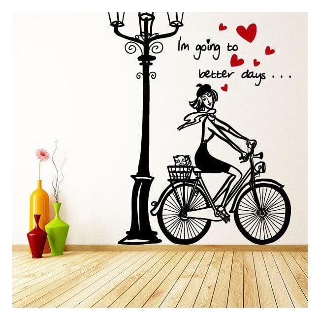 Vinilos Decorativos Mujer Romántica Bicicleta Spanish 913