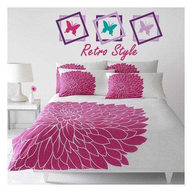 Vinilos decorativos cabeceros cama mariposas retro - Vinilos cabeceros cama ...