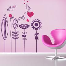 Vinilos Decorativos Flores y Pajaritos Románticos