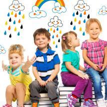 Vinilos Infantiles Nubes y Lluvia de Colores