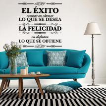 Vinilos Decorativos Citas El Éxito y La Felicidad