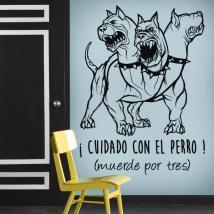 Vinilo Decorativo Adhesivo Cuidado Con El Perro