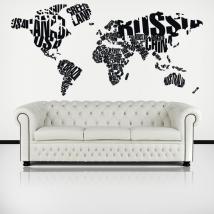 Vinilos Decorativos Tipográficos Mapamundi Textos