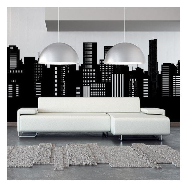 Vinilo decorativo skyline panor mica ciudad for Vinilos pared ciudades