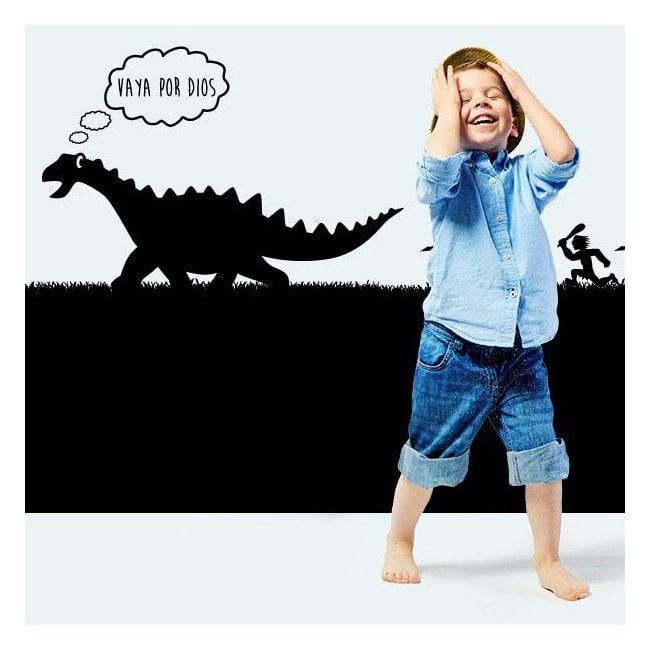 Vinilo Decorativo Infantil Cazando Al Dinosaurio