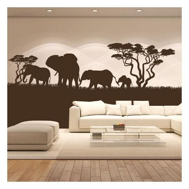 Vinilo decorativo elefantes frica - Vinilos decorativos para pared infantiles ...