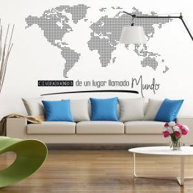 Vinilo Mapamundi Ciudadanos Del Mundo