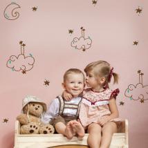 Vinilos Infantiles Luna Nubes Estrellas Y Puntos De Colores