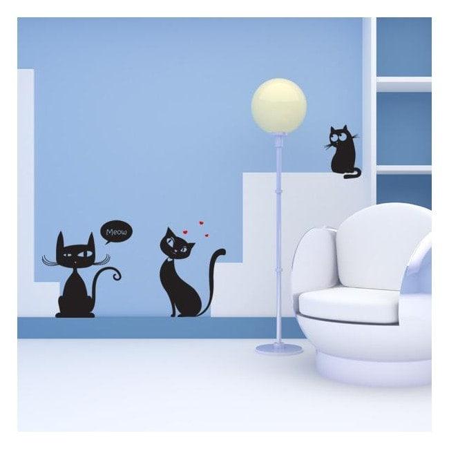 Vinilos decorativos gatos meow for Vinilos grandes baratos