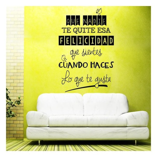 Vinilos decorativos adhesivos frases felicidad - Vinilos decorativos frases ...