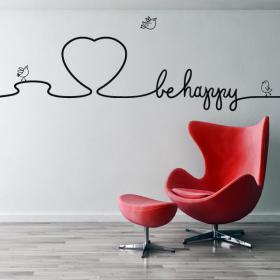 Vinilos Decorativos Textos Decorar Paredes Be Happy