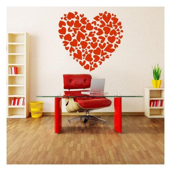 Vinilos decorativos corazón con corazones