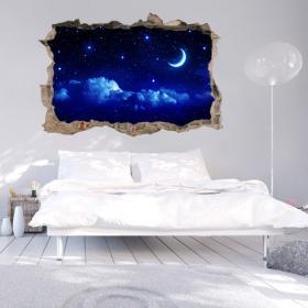 Vinilos Pared 3D Luna Y Estrellas