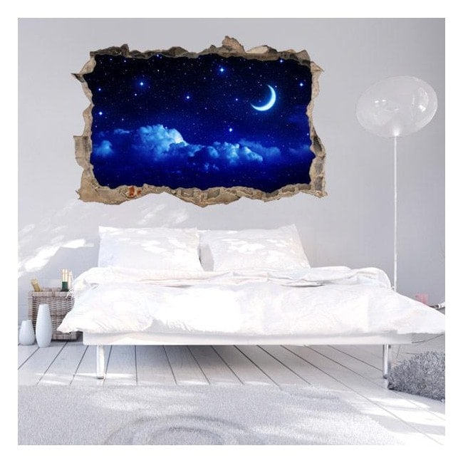 Vinilos pared 3d luna y estrellas for Pegatinas para decorar paredes