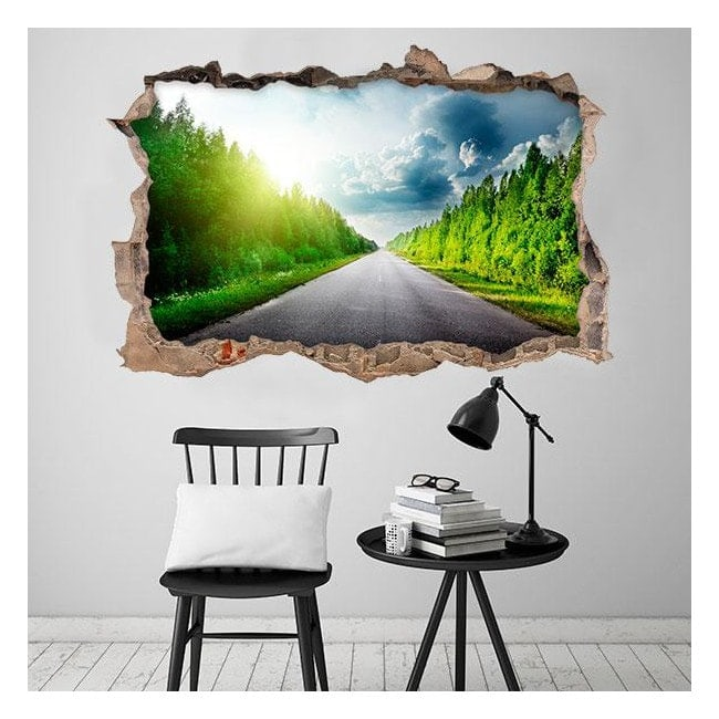 Vinilos 3D Carretera y Árboles