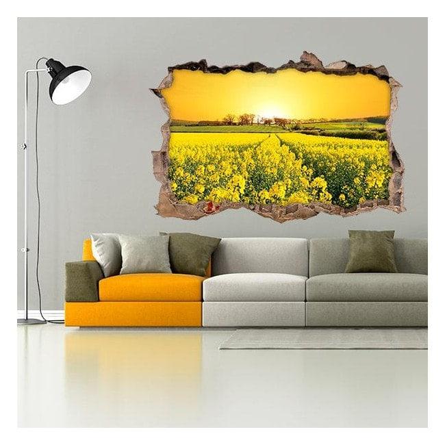 Vinilos 3D Flores Pradera Naturaleza