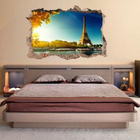 Vinilo 3D Pared Torre Eiffel París