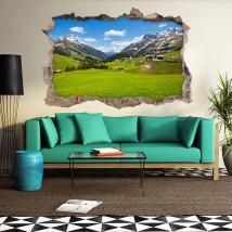Vinilos 3D Pueblos Montañas
