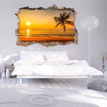 Vinilo 3D Pared Rota Puesta De Sol En El Mar