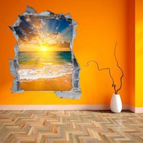 Vinilo 3D Paredes Puesta De Sol En La Playa