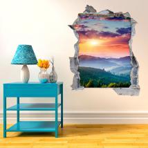 Vinilo 3D Puesta De Sol En Las Montañas