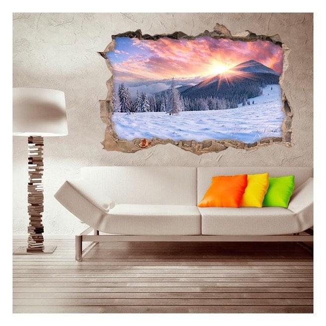 Vinilo 3D Puesta De Sol Montañas Nevadas